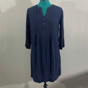 Women's Navy Pleated Tunic Dress